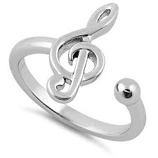 Treble Clef Music Sterling Silver Treble Clef Music Note Ring