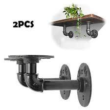 2x pipe shelf brackets industrial iron