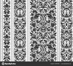Gestreepte Naadloze Patroon Op De Barokke Stijl Naadloze Bloemen