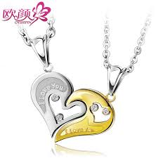 ouyan necklaces gold silver black blue interlocking open heart puzzle necklaces set titanium steel i love you engraved pendant