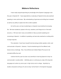 spanish midterm reflection essay midterm reiumlnot130ections i have really enjoyed expanding my knowledge of the spanish language so farthis year