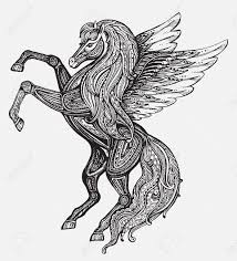 Hand Drawn Pegasus Mythological Winged Horse Victorian Motif Tattoo Design Element Isolated Vector Illustration In Line Art Style