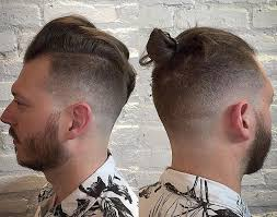 a great before and after picture of a male with um length hair