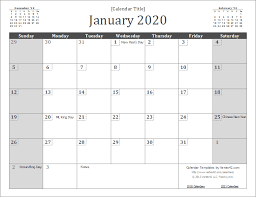 Calendar Template Monthly 2020 2020 Calendar Templates And Images Excel Calendar Free