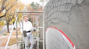 Teaching Plaster Rendering Of A Swirl Or Sweep Texture Finish - Exterior stucco finishes