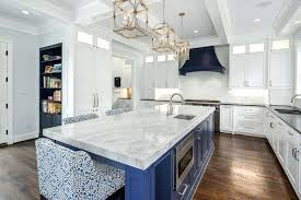 blue kitchen countertops white marble island design ideas pictures