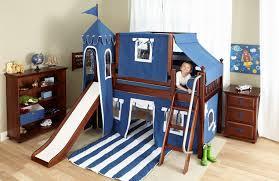 Maxtrix Low Loft Blue Castle Bed With Slide