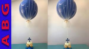 diy 3 jumbo balloon centerpiece covered with tulle decoration tutorial