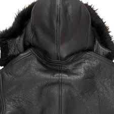 all black b 3 hooded sheepskin er jacket
