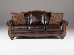 barcelona traditional antique faux leather sofa w cushion back to enlarge