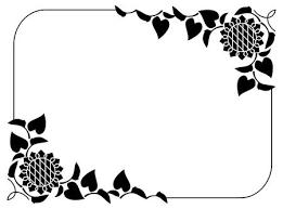 黒と白の装飾的なヒマワリのシルエットと垂直のフレームベクター