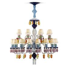 lladró belle de nuit 24 light chandelier multicoloured