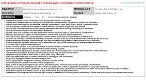 Appliance Repair Technician Resumes Free Resume Images