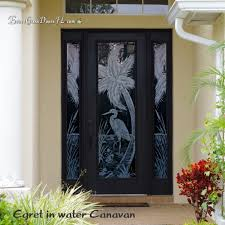 tall entry door with frosted glass design egret and palm