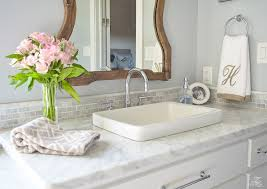transitional master bathroom. Perfect Transitional Neutral Transitional Master Bath White Cabinets Carrara Marble Benjamin  Moore Silver Lake Uttermost Augusta Wooden Mirror In Transitional Master Bathroom E