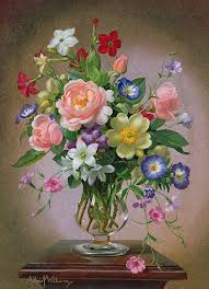 roses peonies and freesias in a glass vase by albert williams roses peonies and freesias in a glass vase painting roses peonies and freesias in a glass