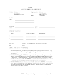 Free Rental Form Equipment Lease Form Rental Forms Free Agreement Samples Format