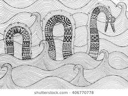 sea serpent drawings. Fine Sea Sea Monster Floating On The Waves Of Sea Drawing By Hand Figure Style Intended Serpent Drawings I
