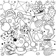 夏の子供のためのぬりえ じょうろのベクターアート素材や画像を多数ご