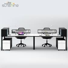 modern european style 4 person wood computer desk with book shelf by w2901