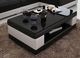 White leather coffee tables Modern Contemporary Black And White Leather Coffee Table Wblack Glass Table Top My Aashis Contemporary Black And White Leather Coffee Table Wblack Glass