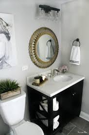 basement bathroom reveal gray tile marble neutral bathroom decor black white gold and gray bathroom