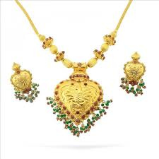 antique gold peacock design temple jewelry necklace set with uncut emerald ruby 22kt yellow gold one 22kt yellow gold necklace setfeaturing a pendant