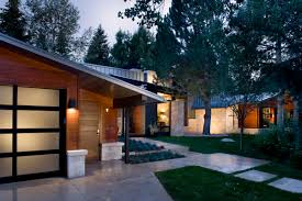 Nice Oak Wooden Exposed Wall For Exterior Ideas Added Wall Lights Fixtures  Also Concrete Pavers As Ranch Mid Century Homes Inspiring Designs