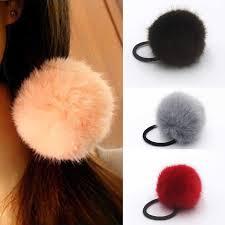 1Pc <b>Hair</b> Accessories <b>Korean Artificial</b> Rabbit <b>Fur Ball</b> Girls ...