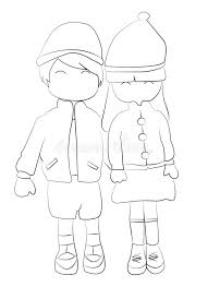 Small Picture Hand Drawn Coloring Page Of A Boy And Girl Holding Hands Stock