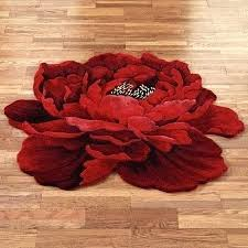 luxury red round rug or round red rug scarlet magic peony flower shaped round rugs