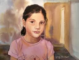 syrian girl in a building looking at gallery artist judy arvidson of illinois painted this watercolor of