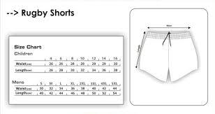 Men Rugby Short Size Chart Fifth Gear International