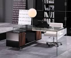 contemporary glass office. Contemporary Office Desk With Thick Acrylic Cabinet Support Legs Glass G