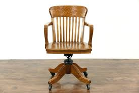 oak desk chair sold swivel adjule antique with arms office for parts
