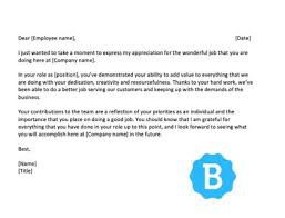 commendation letter sample letters of appreciation to employees with free samples