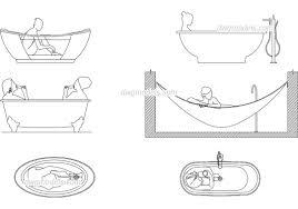 people in bathtub dwg cad file free