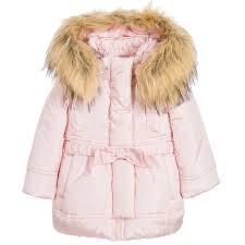 monnalisa bebé baby girls pink padded coat with hood fur trim childrensalon