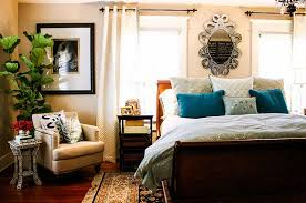 stylish small reading nook in the corner of the bedroom