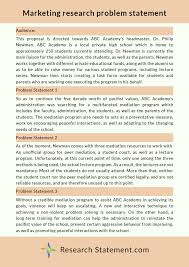 Research Problem Statement Marketing Research Problem Statement Sample By Researchstatement74