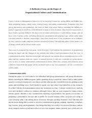 a reflective essay on the paper of organizational culture and a reflective essay on the paper of organizational culture and communication a reflective essay on the paper of organisational culture and