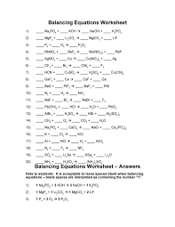 balancing equations worksheet answer key chemistry about com