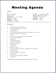 Microsoft Word Meeting Agenda Template