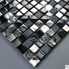 stone marble mosaic tile crystal glass kitchen free bathroom tiles black white
