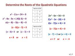 determine the roots of the quadratic equations