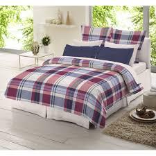 dormisette blue and red check tartan 100 brushed cotton duvet cover
