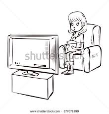 watching tv clipart black and white. watching tv. hand drawn cartoon vector illustration. tv clipart black and white h