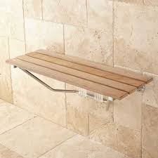 simple wall mounted teak wood shower bench