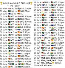 Icc World Cup 2019 Schedule Pdf Download Timetable Fixture
