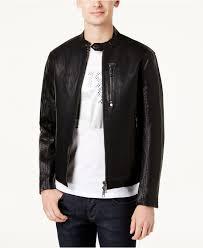 armani exchange black men s faux leather moto jacket